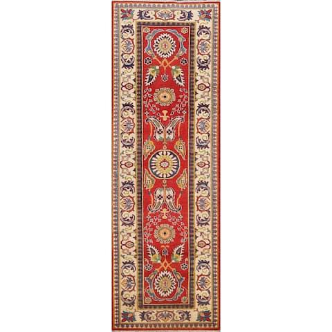"Floral Red Kazak Oriental Hallway Runner Rug Wool Hand-knotted Carpet - 2'9"" x 9'7"""