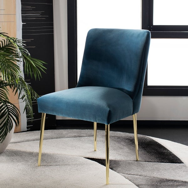 "Safavieh Couture Nolita Velvet Accent Chair - Aegean Blue / Brass - 28""x23""x35.3"""
