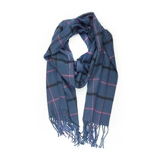 "Super Soft Luxurious Classic Cashmere Feel Winter Scarf - Navy -  72""x12"" with 5"" fringes"