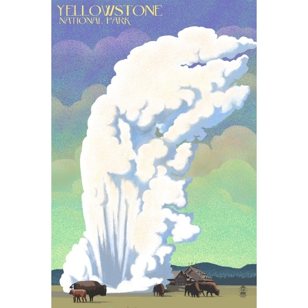 Yellowstone National Park Old Faithful Bison Lithograph Lantern Press Artwork Art Print Multiple Sizes Available