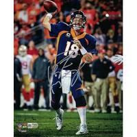 Peyton Manning Autographed Denver Broncos 8x10 Photo Blue Solo Silver JSA