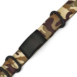 Chisel Stainless Steel Satin Black IP Brown Camo Fabric Adjustable ID Bracelet