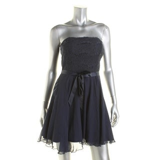 As U Wish Womens Juniors Lace Inset Strapless Party Dress