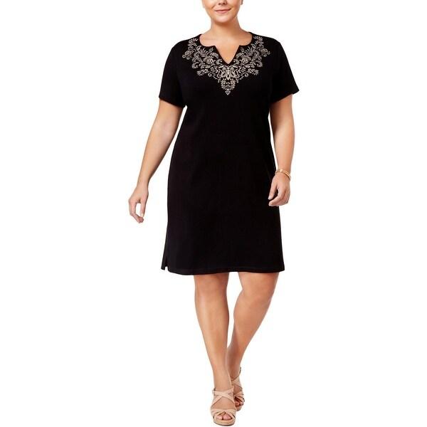 Shop Karen Scott Womens Plus T Shirt Dress Embroidered Fit