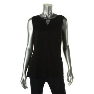 Calvin Klein Womens Burnout Top Sleeveless Pullover Top - S