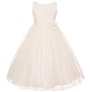 Flower Girl Dress Floral Pattern Top Soft Tulle Skirt Off White MBK 346