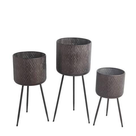 Set of 3 Gray Metal Planters