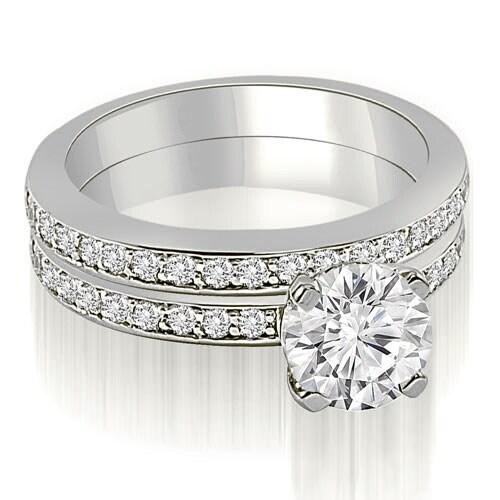 1.10 cttw. 14K White Gold Classic Round Cut Diamond Bridal Set