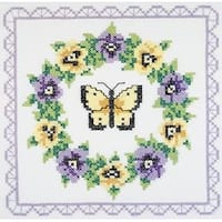 "Pansy Wreath - Stamped Cross Stitch Quilt Blocks 18""X18"" 6/Pkg"