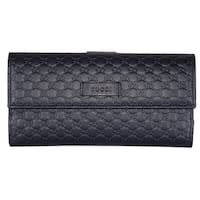 """Gucci Women's 449393 Blue Leather Micro GG Continental Bifold Wallet - 7.5"""" x 4"""" x 1"""""""