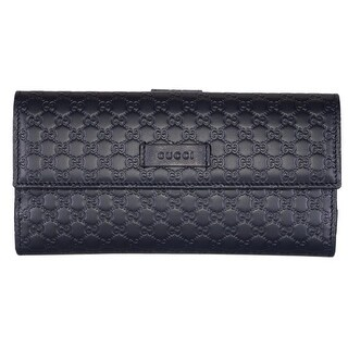 "Gucci Women's 449393 Blue Leather Micro GG Continental Bifold Wallet - 7.5"" x 4"" x 1"""