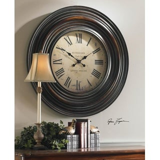 """38"""" Burnished Brown Round Wooden Wall Clock"""