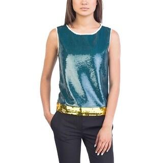 Prada Women's Silk Cotton Blend Shimmering Beaded Tank Top Shirt White - 8
