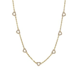 Lily Nily Girl's 7 Hearts Station Necklace - Silver