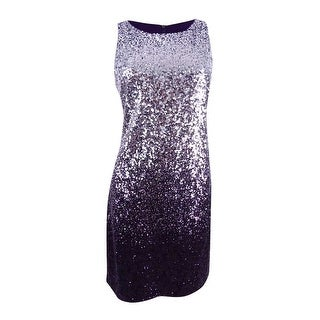 Vince Camuto Women's Sequined Shift Dress - silver/eggplant