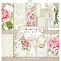 """Stamperia Double-Sided Paper Pad 12""""X12"""" 10/Pkg-Letters & Flowers, 10 Designs/1 Each"""