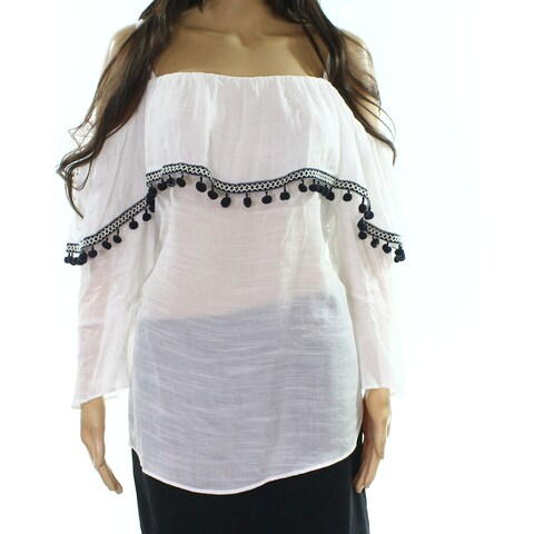 BCX Black Womens Plus Embroidered Off The Shoulder Top