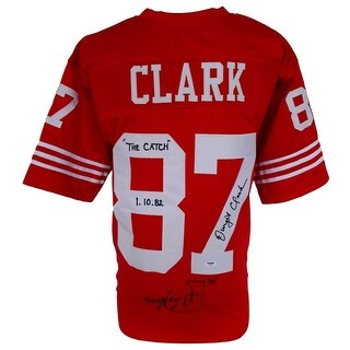 Dwight Clark Signed Custom Red Football Jersey The Catch Insc w/ Play Drawn PSA