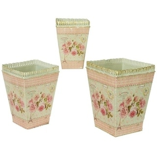 Dolce Mela DMMV578-S3 French Country Planters Square Vintage Metal Decorative Vases & Flower Pots - Set of 3