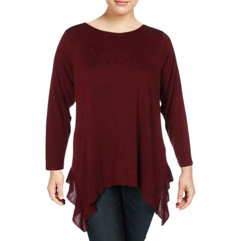 Nic + Zoe Womens Every Occasion Knit Top Ruffled Crewneck