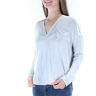 KIIND OF $59 Womens New 5858 Silver V Neck Long Sleeve Hi-Lo Casual Top M B+B