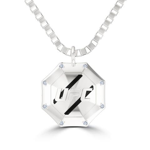 UFC Octagon Diamond Pendant Necklace In Sterling Silver