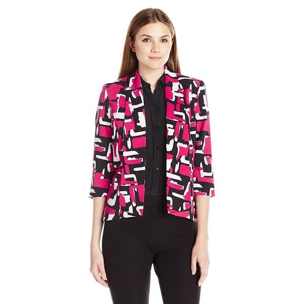 Kasper Abstract Printed Twill Open Front Makali Jacket Blazer
