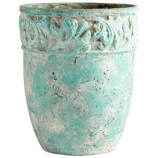 "Cyan Design 09607  Rome 15"" Diameter Cement Planter - Antique Green"