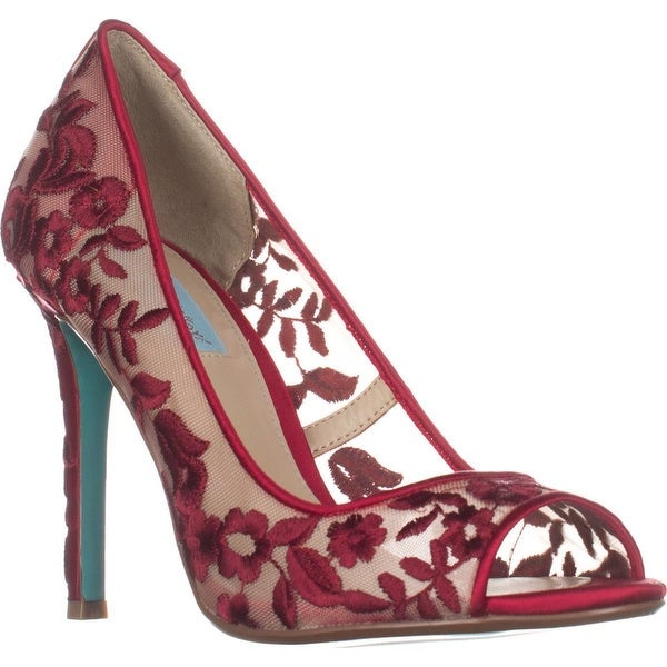 Betsey Johnson Adley Peep-Toe Dress Pumps, Red
