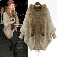 Womens Batwing Knitted Sweater Faux Collar Cardigan Coat