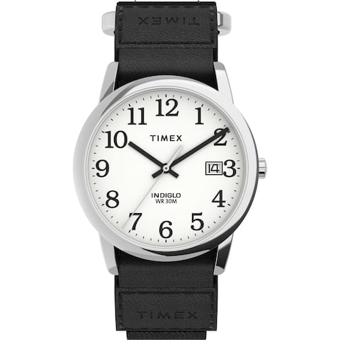 Timex Men's Easy Reader 35mm Watch - Silver-Tone Case White Dial with Black FastWrap Strap - One Size