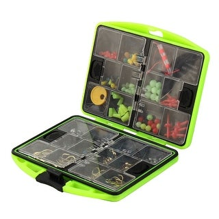 Plastic Dual Sided 24 Compartments Hook Block Beads Fishing Tackle Box Set
