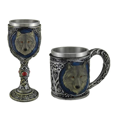Grey Wolf Stainless Steel Lined Celtic Design Mug and Wine Goblet Set - 14 X 6 X 6 inches