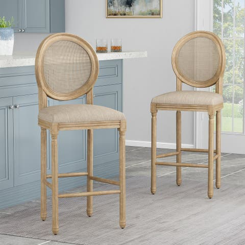 Epworth French Country Wooden Barstools with Upholstered Seating (Set of 2) by Christopher Knight Home
