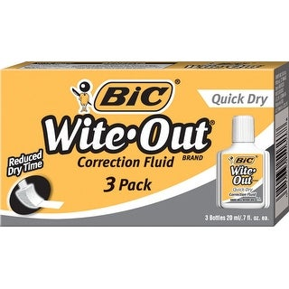 BIC Wite-Out Quick Dry Correction Fluid, Pack of 3