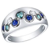 Prism Jewel 0.60CT Blue Sapphire with Blue & White Diamond Half Eternity Ring
