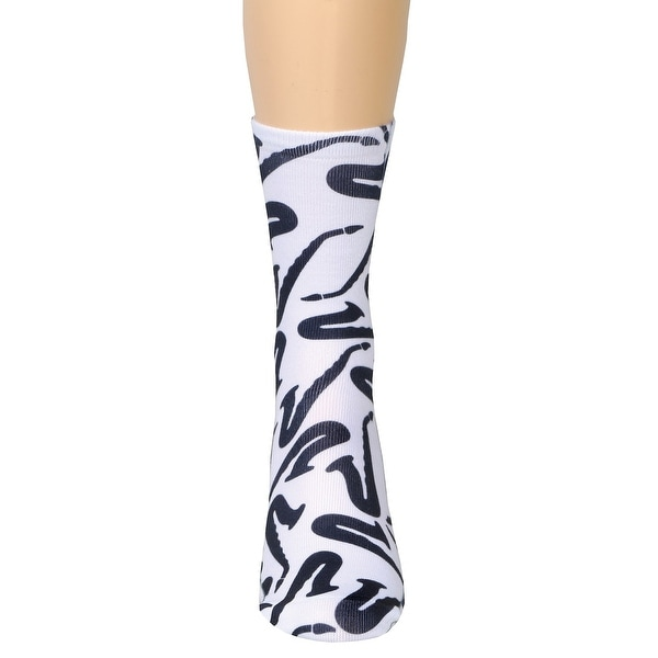 Living Royal Woman's Saxophone Socks - Navy Blue Musical Instrument on White - One size