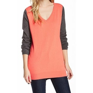 14th & Union NEW Orange Coral Gray Women's Size Medium M V-Neck Sweater