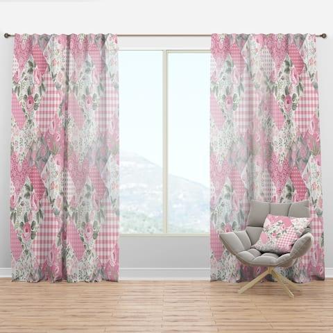 Designart 'Decorative Patchwork Floral Pattern' Modern Curtain Panel