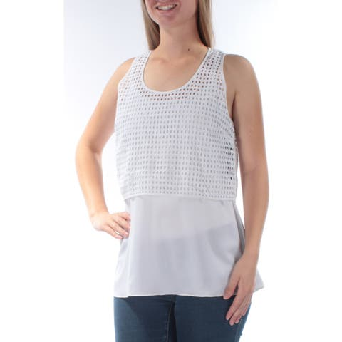 2c44b966109513 DKNY Womens White Eyelet With Cami Sleeveless Jewel Neck Top Size: M