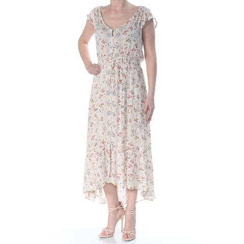 LUCKY BRAND Womens Ivory Tie Hi-low Floral Cap Sleeve Full-Length Evening Dress Size: S