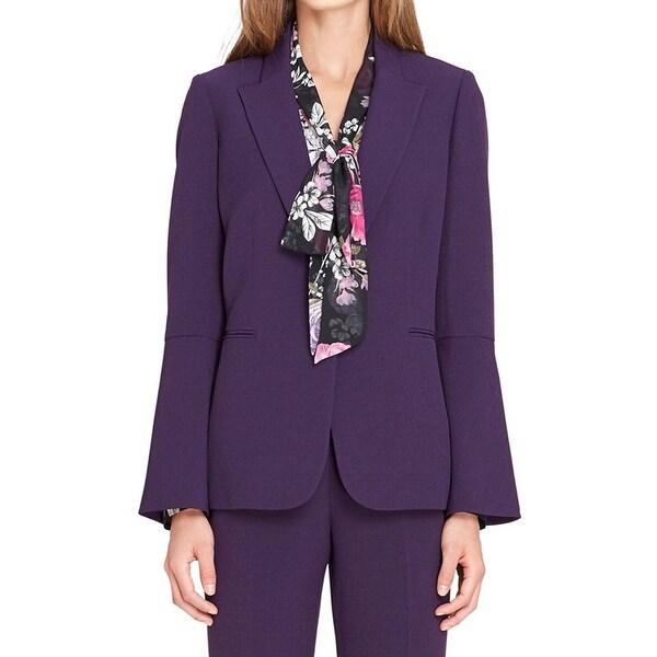 Tahari By ASL Purple Womens Size 10 Petite Bell-Sleeve Blazer