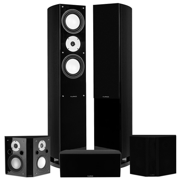 Fluance Reference Series Surround Sound Home Theater 5.0 Channel System with Bipolar Speakers - Black Ash (XL50BB)