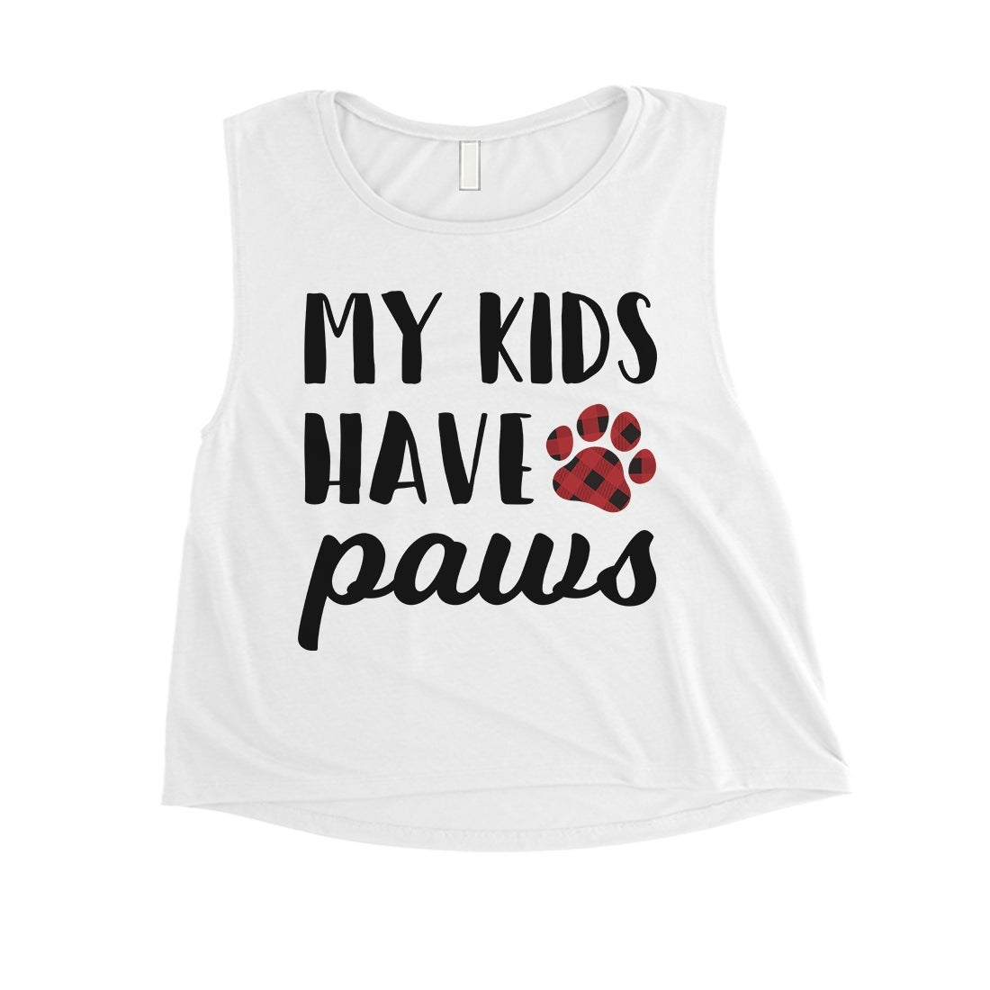 Shop My Kids Have Paws Womens White Crop Shirt Cute Dog Mom Gift Ideas Overstock 27657625