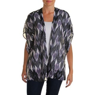 Status by Chenault Womens Casual Top Chiffon Lace Trim