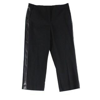Alfani Deep Women's Faux-Leather Trim Dress Pants