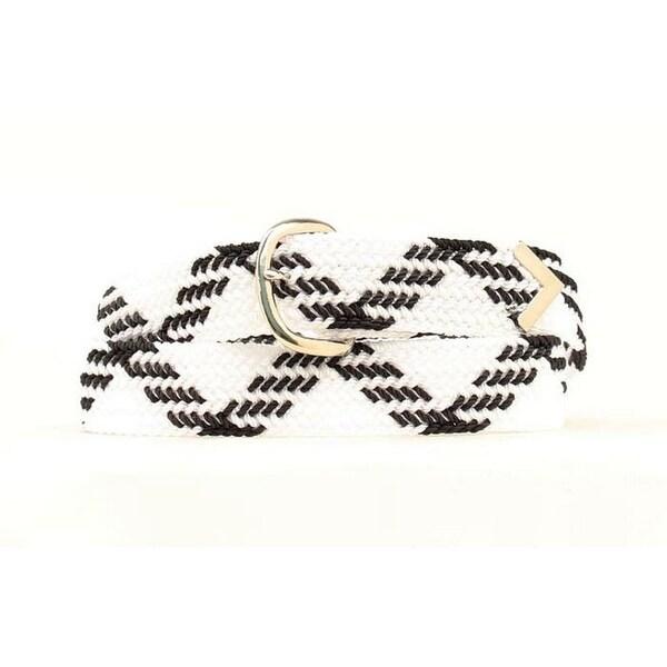 M&F Western Belt Mens Leather Braid Arrow Tip White Black - 46