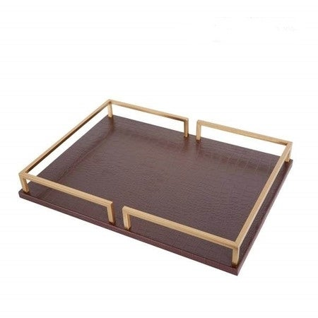 """G Home Collection Luxury Brown Leather Rectangular Decorative Tray 15.7""""X11.4""""X2"""""""