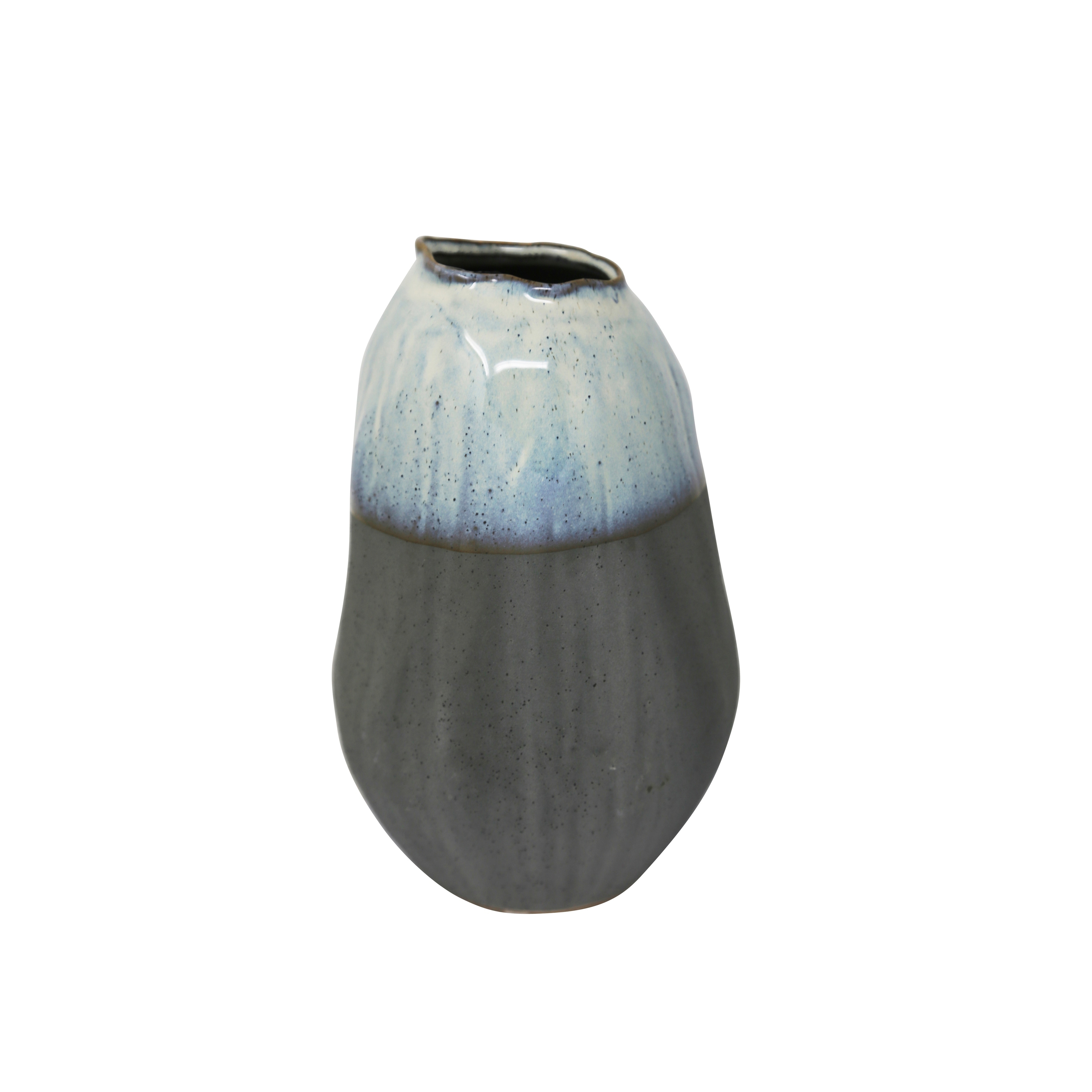Ceramic Two Toned Vase with Titled Mouth Rim and Bottom, Small, Blue and Gray