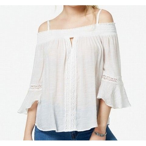 BCX White Women's Size Large L Smocked Off-The-Shoulder Blouse